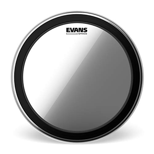 Evans EMAD2 Clear Bass Drum Head, 22' - Externally Mounted Adjustable Damping System Allows Player to Adjust Attack and Focus - 2 Foam Damping Rings for Sound Options - Versatile for All Music Genres