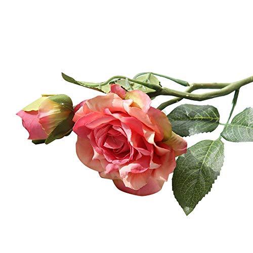 Ymout 1PCS Artificial Flowers Roses for DIY Wedding Bouquets Arrangement Decoration Long Stemmed Floral (Hot Pink,Free Size)