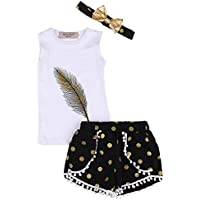 3pc Baby Girl Feather Chaleco Tops + Dots borlas Short Pantalones + de Oro Bowknot Diadema