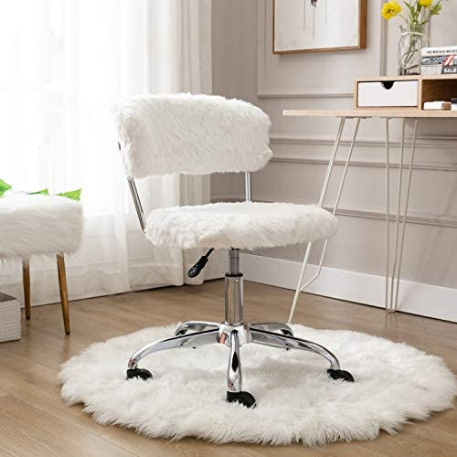 CIMOTA White Home Office Chair Cute Fluffy Vanity Chair