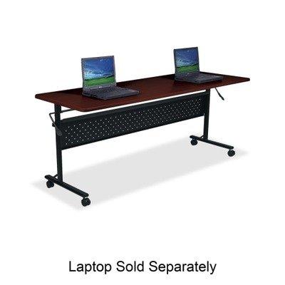 (Lorell Flipper Training Table - Rectangle - 72quot; x 24quot; x 29.5quot; - Polyvinyl Chloride (PVC), Steel - Mahogany Top, Frame )