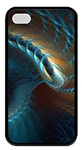 iPhone 4 4s Case, iPhone 4 4s Cases - Blue Gold Abstract Spiral 3D TPU Polycarbonate Hard Case Back Cover for iPhone 4 4s¨CBlack