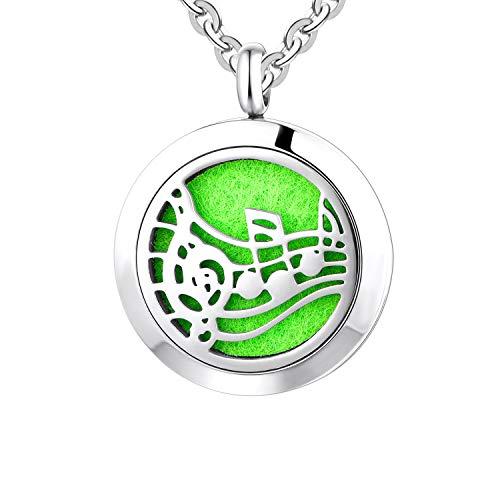 Dancing Musical Note Charm Bracelet Necklace Set Oil Diffuser Bangle Bracelet Heart Bracelet ,Cuff Bangle Bracelet, Diffuser Bracelet Eessential Oil Bracelet Oil Diffuser Bangle 7 Color Pads For Girls ()