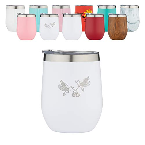 Rosato Bay Insulated Wine Tumbler- with Lid and Straw-12 oz Stainless Steel Vacuum Insulated Stemless Wine Glass -Unbreakable Coffee Cup Travel Mug- Hot or Iced -White-Doves Holding Ribbon with Rings