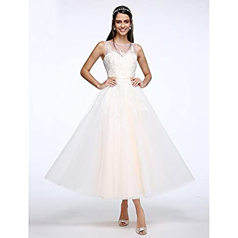 dab39502d 3. kekafu Una línea Scoop Cuello Largo tobillo tul vestido de novia con  apliques Button por LAN TING NOVIA