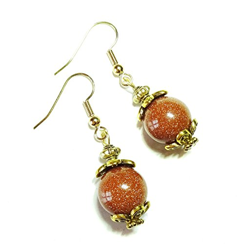 (Brown Goldstone & Antique Gold-Tone Earrings)