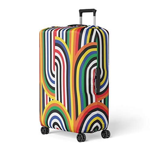 - Pinbeam Luggage Cover Optical Abstract Op Pattern Colorful Disco Geometric Retro Travel Suitcase Cover Protector Baggage Case Fits 26-28 inches