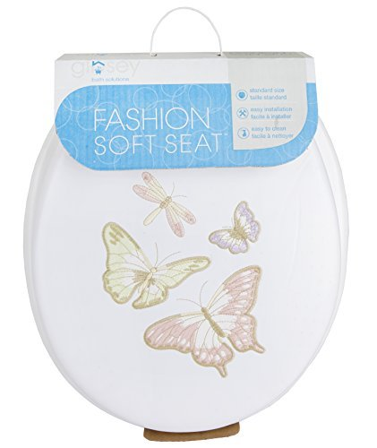 Ginsey Home Solutions Classique Soft Toilet Seat - Padded for Extra Comfort - For Standard Toilets - Includes All Necessary Components for Installation - Shimmer Butterfly Embroidered by Ginsey