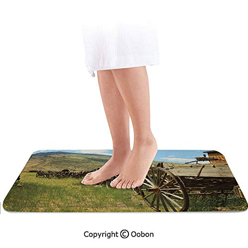 Barn Wood Wagon Wheel Bath Mat,Line of Antique Carriages in Rural Village Farm and Hills Decorative,Plush Bathroom Decor Mat with Non Slip Backing,24 X 17 Inches,Green Brown Light Blue