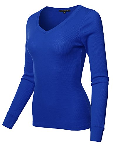 Basic Casual Solid Long Sleeve V-Neck Thermal Tops Royal Size S (Blue Thermal Shirt)