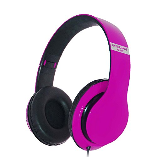 Vansee❤❤FE-007 Stereo Headset Extra Bass AUX Wired Headphone Sound with Mic (Pink) ()