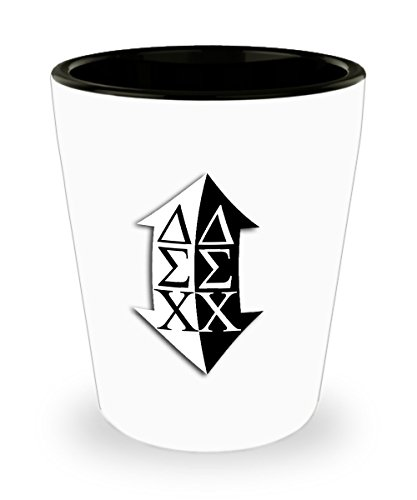 Delta Sigma Chi - Sorority Shot Glass - Sisters Pledges House Gift - One 1.5oz Ceramic Jigger Toothpick Holder Pill Cup (Sigma Chi Shot Glass)