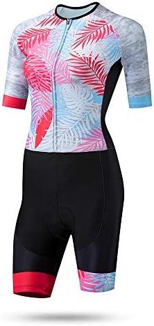 サイクルジャージ 女性のトライアスロン夏の乗馬スーツレディーススケートドレス半袖モトリー通気性UV保護 吸汗速乾高通気 (色 : マルチカラー, サイズ : M)