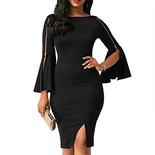 Price comparison product image Women Dress Daoroka Ladies Zipper Wear Work Office Pencil Flare Sleeve Elegant Casual Skirt Bodycon Sheath Party Dress (XL,  Black)