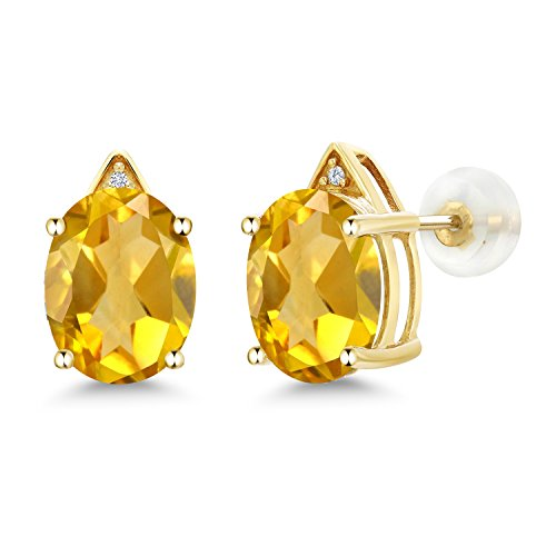 Citrine Earrings Diamond And (10K Yellow Gold Oval Yellow Citrine and White Diamond Earrings, 4.01 Ctw)