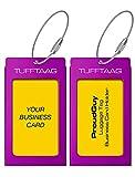 Luggage Tags Business Card Holder TUFFTAAG PAIR Travel ID Bag Tag - Deep Purple
