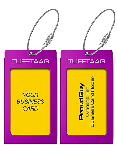 - Luggage Tags Business Card Holder TUFFTAAG PAIR Travel ID Bag Tag - Deep Purple