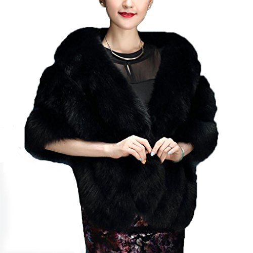 Faux Fur Wrap Cape Shawl for Women's Wedding Dresses and Ladies Party, Black, One Size