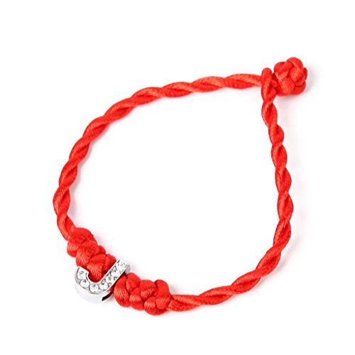 Hacloser Kabbalah Red String Lucky Bead Couple Bracelets with Crystal Letters Adjustable for Lovers Valentine's Day Gift Tibetan Buddhist Jewelry -