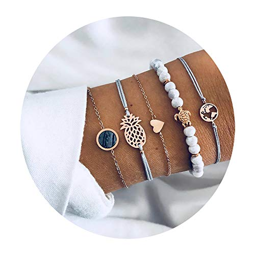 krun Beaded Bracelets for Women - Adjustable Charm Pendent Stack Bracelets Set for Women Girl Friendship Gift Bracelet Links