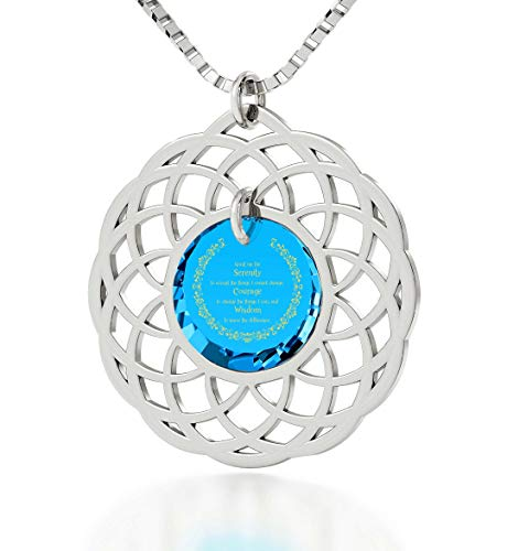 (925 Sterling Silver Serenity Prayer Necklace Mandala Pendant Inscribed in 24k Gold on Cubic Zirconia, 18