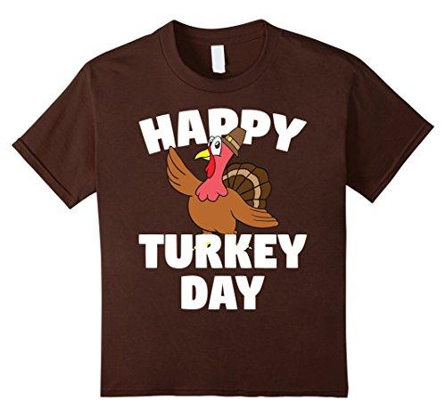 Kids Happy Turkey Day Tee - Happy Thanksgiving Gift T-Shirt 12 Brown