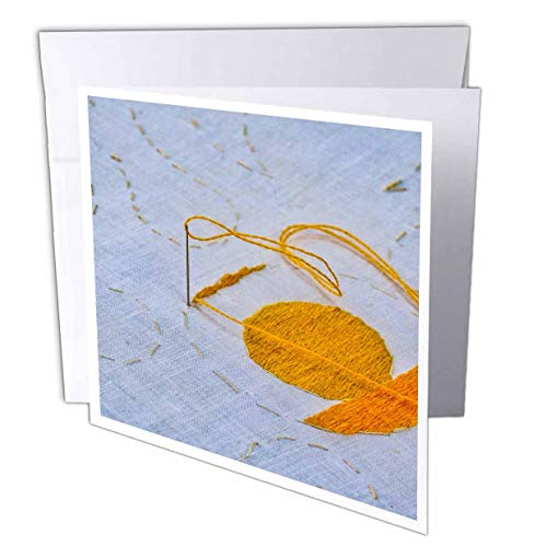 3dRose Alexis Photography - Objects Handicraft - A Needle Stack into a Canvas, a Yellow Thread. Needlework in Progress - 12 Greeting Cards with envelopes (gc_308094_2) ()