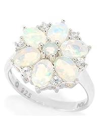 Pinctore Sterling Silver Ethiopian Opal & White Zircon Flower Ring