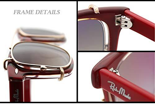 Non de shape Del classic Rojo on Acetate Prescription sunglasses Clip eyewear Oro Clip Marco qIwXZxzx6f