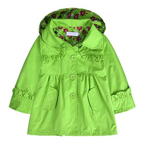 Arshiner Girl Kid Flower Waterproof Hooded Coat Jacket Outwear Raincoat Hoodies Green 140 Age for 6 7Y  Green 140 Age for 6 7Y
