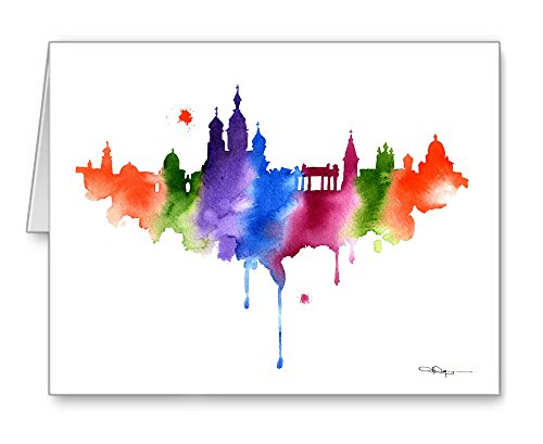 St Petersburg Skyline Set of 10 Abstract Art Note Cards by Watercolor Artis. ()