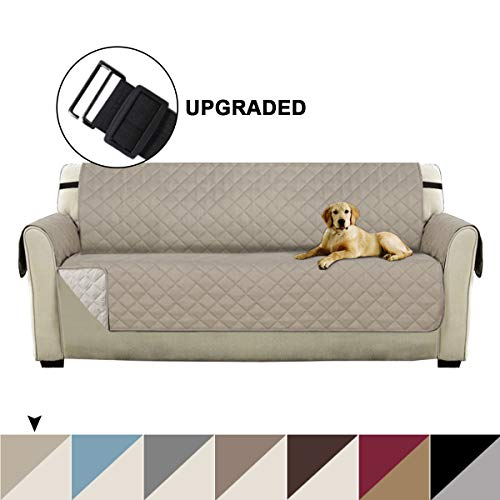 Turquoize Quilted Microfiber Pets Sofa Protector Couch Covers for 3 Cushion Couch Reversible Furniture Protector Cover with Elastic Straps Slip Resistant Sofa Slipcover Protector (Sofa,Khaki/Beige) (90 Sofa Cover)