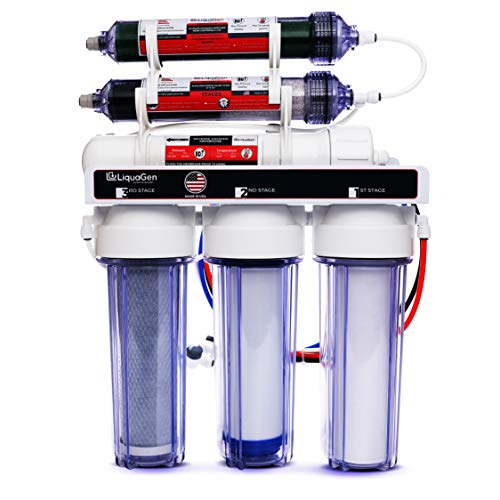 LiquaGen Portable - 6 Stage Dual Use (Drinking & 0 PPM Aquarium Reef/Deionization) Reverse Osmosis Water System (RO/DI) w/pH Alkaline Mineral Restoration Filter (50 GPD) Aquarium Reverse Osmosis System