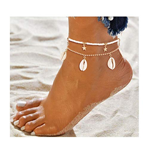 - JYM JEWELRY Anklets for Women Boho Conch Cowrie Shell Anklet Gold Star Ankle Bracelet Woven Beaded Ankle Chain Hippy Surf Foot Jewellery