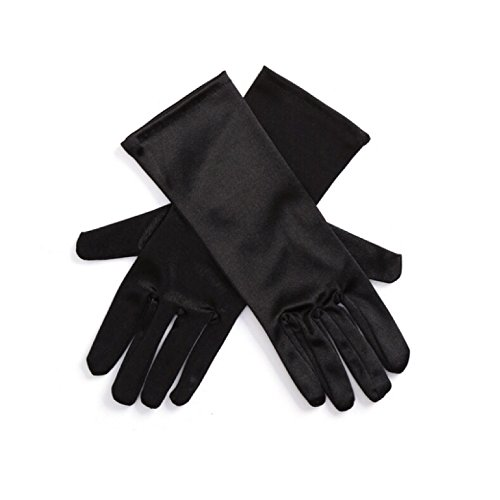 [Gloves, Girls/Kids Size, Long, Black Satin (Ages 4-10)] (Black Girls Gloves)