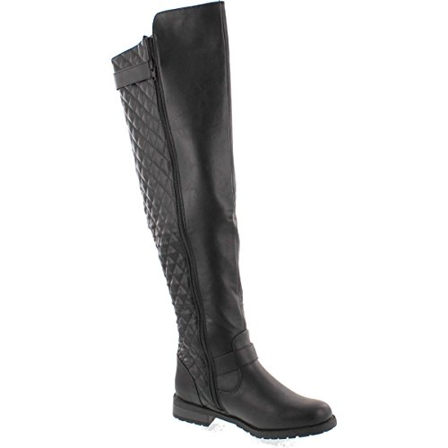 West Blvd Detroit Quilted Riding Biker Knee High Boots