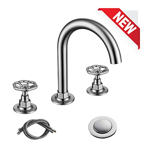 RKF Solid Brass Two Handle Widespread Bathroom Sink Faucet with Pop-up Drain with overflow and CUPC Faucet Supply Hoses,Brushed Nickel,CWF026-BN