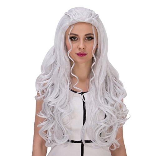 Daenerys Targaryen Dragon Costume (Probeauty Dragon Mother Collection Braid Silver /Blonde Long Curly Women Cosplay Wigs (Daenerys Targaryen Silver))
