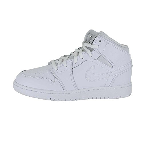 Air Jordan Boys Air 1 Mid Big Kids Style Wit / Zwart / Wit
