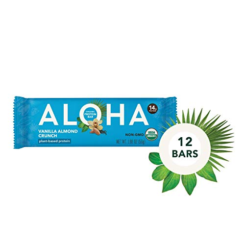ALOHA Organic Plant Based Protein Bars  Vanilla Almond Crunch   12 Count, 1.9oz Bars   Vegan, Low Sugar, Gluten Free, Paleo, Low Carb, Non-GMO, Stevia Free, Soy Free