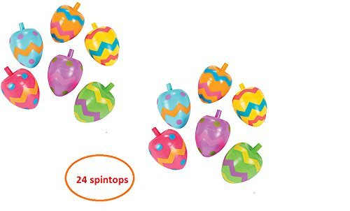 (24) EASTER Egg Spin Tops ~ Spring Party Favors ~ Bunny Basket Fillers ~ 2 1/4'' Plastic Colorful Toys Goody Bags School Fairs Festival Prize Teacher Classroom Gifts (Best Toto Party Bag Fillers)