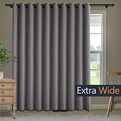 Macochico Blackout Extra Wide Curtains for Living Room Thermal Insulated Grommet Curtains Room Drakening Drapes Panels for Bedroom Living Room Hall Grey 180W x 84L Inch 1 Panel