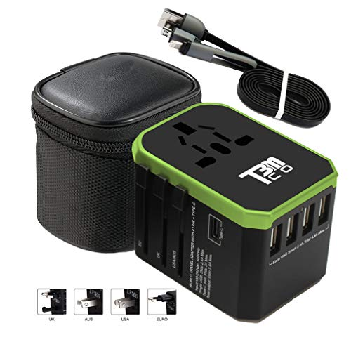 - T3MCO Travel Adapter, Travel Adapter UK to Europe, USA Travel Adapter, Aus Travel Adapter, Universal Travel Adapter, USB Travel Adapter (Black/Green, 4 USB + Type C)