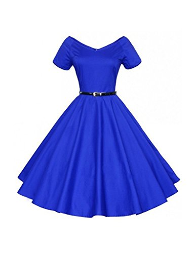 Bestgift Coton Femmes Couleur Unie V Cou Manches Courtes Robe D'une Ligne Avec Le Bleu De La Ceinture
