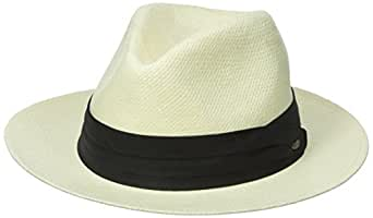 Scala Men's Toyo Safari Hat with Black Trim, Natural, Small/Medium