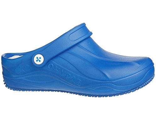 PLS Medical Oxypas Smooth Waschbar, Anti-Rutsch, Anti-Statik-Pflege Clog, Geeignet für Ärzte, Krankenschwestern und Alle Medizinbereiche (EU 42, Electric Blue)