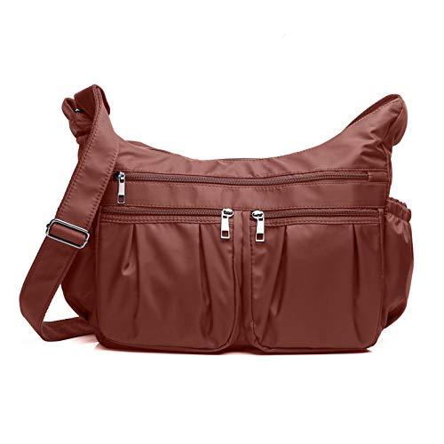 Crossbody Bags for Women, Multi Pocket Shoulder Bag Waterproof Nylon Travel Purses and Handbags (8981- Brick red-Large)