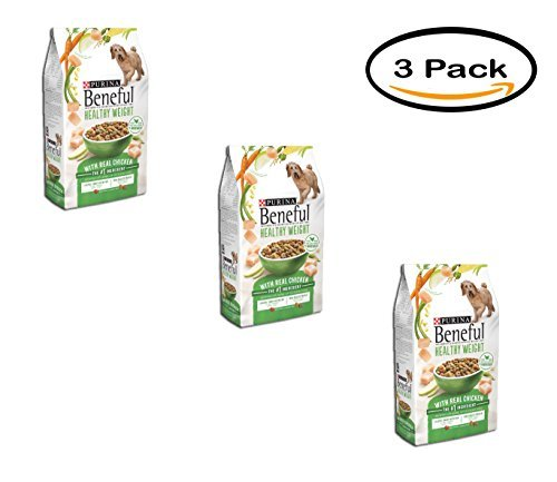 PACK OF 3 - Purina Beneful Healthy Weight With Real Chicken Dry Dog Food 15.5 lb. Bag