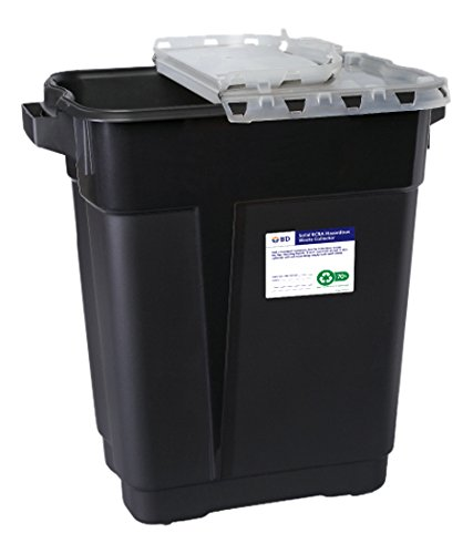 BD Medical Systems 305068 Black RCRA Hazardous Waste Collector with Hinge Top, 9 gal Capacity, 18.75'' x 17.75'' x 11.75'' Size (Pack of 8)