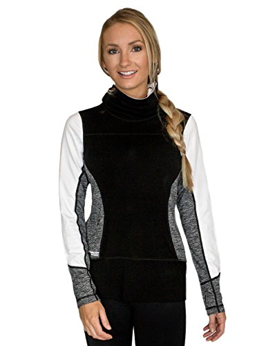 WoolX Anna - Women's Merino Wool Sweatshirt - Athletic Top - Warm, Soft, Stylish, XX-Large, Black Mélange (Wool Womens Sweatshirt)
